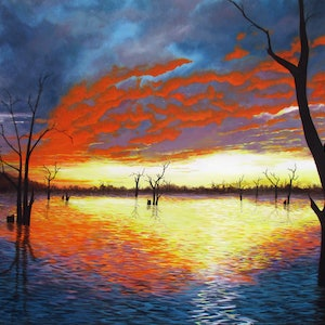 (CreativeWork) Sunset over Lake Nillahcootie by Debra Dickson. arcylic-painting. Shop online at Bluethumb.