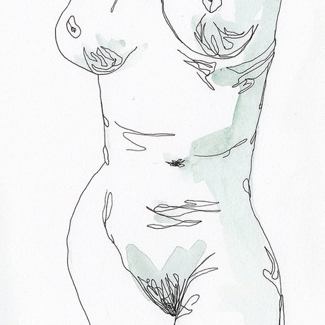 (CreativeWork) Nude No. 1 by Amy Lewis. Watercolour Paint. Shop online at Bluethumb.