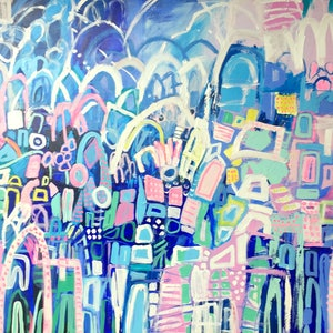 (CreativeWork) 'New York At Night' by LOU SHELDON. mixed-media. Shop online at Bluethumb.