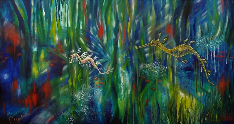 (CreativeWork) 'DRAGON'S WORLD' original oil seascape abstract leafy sea dragons. by Susan Capan. oil-painting. Shop online at Bluethumb.