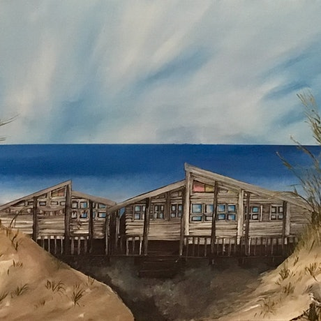 (CreativeWork) Beach House by Kerri Humby. Acrylic Paint. Shop online at Bluethumb.