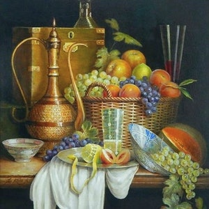 """(CreativeWork) """"Turkish pot, wood box with roemer, etc."""" Framed ready to hang  by Jos Kivits. Oil Paint. Shop online at Bluethumb."""