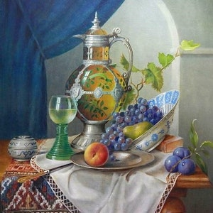"(CreativeWork) ""Bohemian decanter"" Framed ready to hang by Jos Kivits. oil-painting. Shop online at Bluethumb."