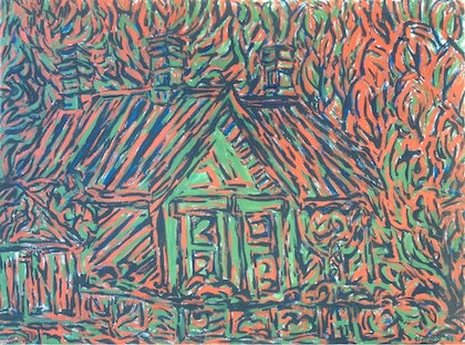 (CreativeWork) Old police station' Woodford by Sidney Sprague. arcylic-painting. Shop online at Bluethumb.