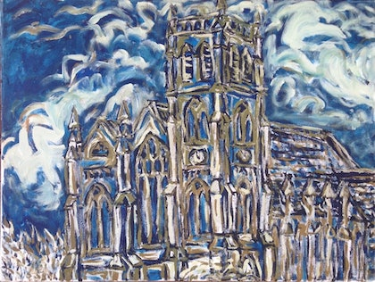 (CreativeWork) Old church' Warrnambool by Sidney Sprague. arcylic-painting. Shop online at Bluethumb.