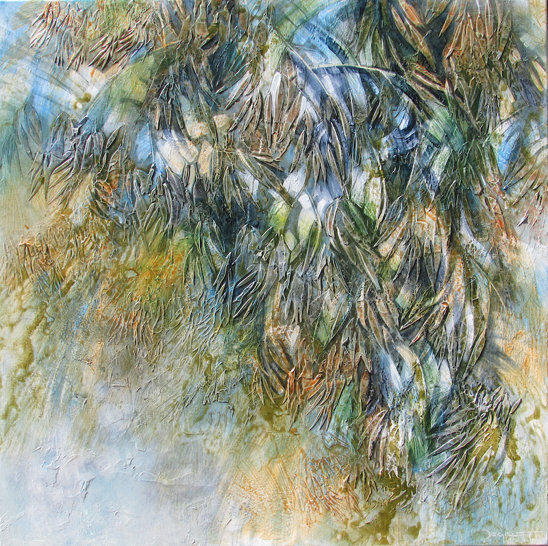 (CreativeWork) Leafy cascade by De Gillett Cox. acrylic-painting. Shop online at Bluethumb.