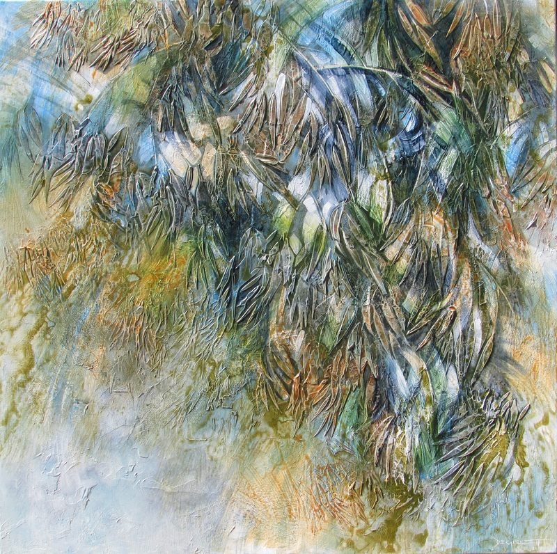 (CreativeWork) Leafy cascade by De Gillett Cox. arcylic-painting. Shop online at Bluethumb.