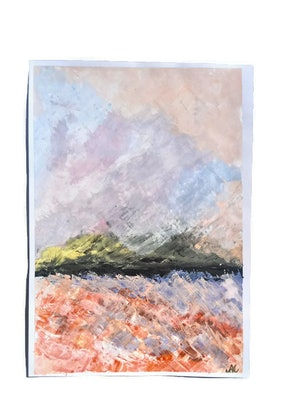 (CreativeWork) Abstract Seascape Illustre by Nicole Seal. Acrylic Paint. Shop online at Bluethumb.