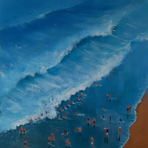 (CreativeWork) Smiths Beach Surfing by Jill Rogers. #<Filter:0x00005589e6312598>. Shop online at Bluethumb.