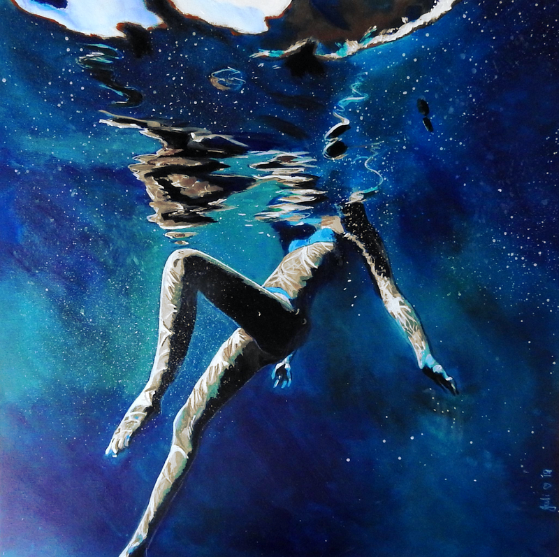 (CreativeWork) Treading Water by Julie Hollis. arcylic-painting. Shop online at Bluethumb.
