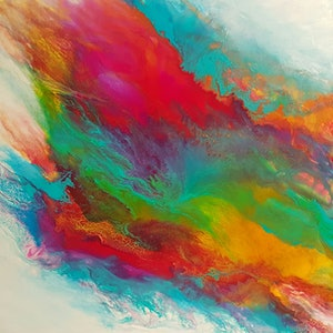 (CreativeWork) Colour in Motion by Clare Riddington Jones. mixed-media. Shop online at Bluethumb.
