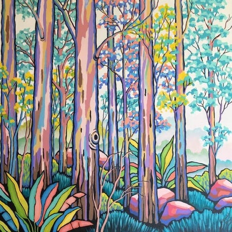 (CreativeWork) WHEN THE FOREST COMES TO LIFE by Saadah Kent. Acrylic Paint. Shop online at Bluethumb.
