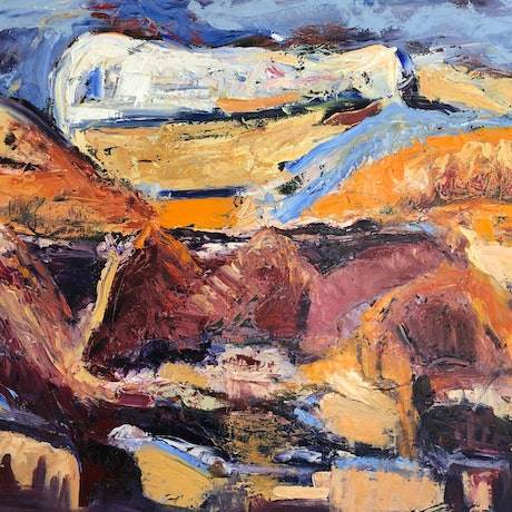 (CreativeWork) MOUNTAINS IN SANTA FE by Maureen Finck. Oil Paint. Shop online at Bluethumb.