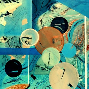 (CreativeWork) Weather Balloons by Doodie Herman. arcylic-painting. Shop online at Bluethumb.