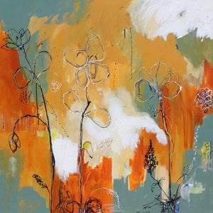(CreativeWork) Autumn Blooms by Lorna Ballantyne-Epps. arcylic-painting. Shop online at Bluethumb.