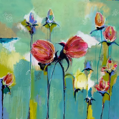 (CreativeWork) Belle Fleurs  by Lorna Ballantyne-Epps. Acrylic Paint. Shop online at Bluethumb.