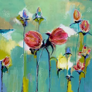 (CreativeWork) Belle Fleurs  by Lorna Ballantyne-Epps. arcylic-painting. Shop online at Bluethumb.