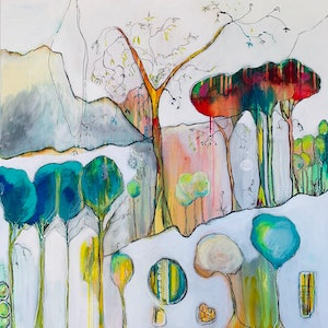 (CreativeWork) Enchanted  Under the Canopy by Lorna Ballantyne-Epps. mixed-media. Shop online at Bluethumb.