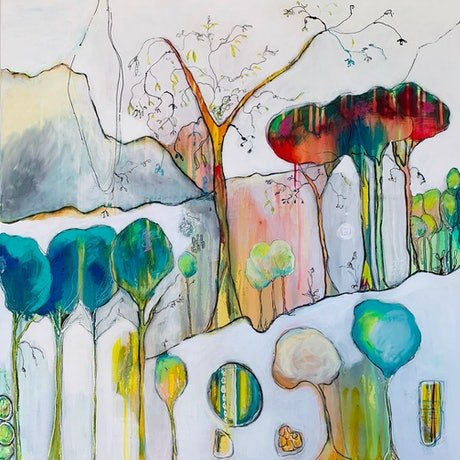 (CreativeWork) Enchanted  Under the Canopy by Lorna Ballantyne-Epps. Mixed Media. Shop online at Bluethumb.