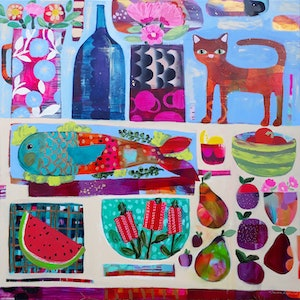 (CreativeWork) Summer Table. Large Quirky Colourful Bold Artwork with Cat, Flowers and Fruit by Sandra Oost. arcylic-painting. Shop online at Bluethumb.