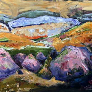 (CreativeWork) MOUNTAINS OF SANTA FE 2 by Maureen Finck. oil-painting. Shop online at Bluethumb.