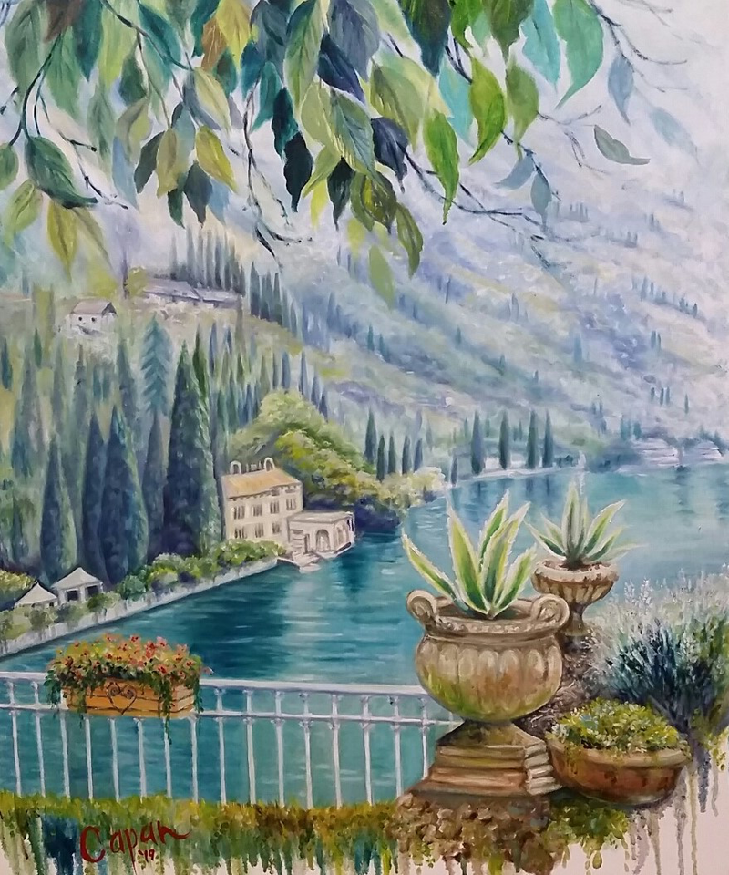 (CreativeWork) 'LAKE COMO'  Italy by Susan Capan. oil-painting. Shop online at Bluethumb.