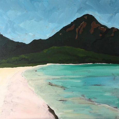 (CreativeWork) Wineglass Bay  looking West by Sandra Jenkins. Acrylic Paint. Shop online at Bluethumb.
