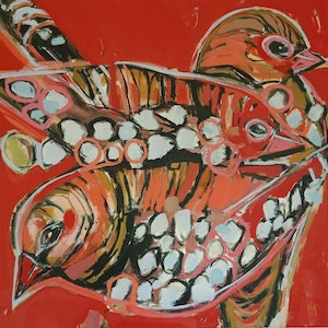 (CreativeWork) SEED-EATERS by Karen McPhee. arcylic-painting. Shop online at Bluethumb.