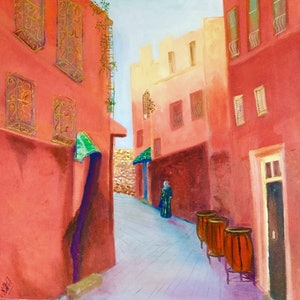 (CreativeWork) Marrakech Street by Kerry Ann Harvey. oil-painting. Shop online at Bluethumb.