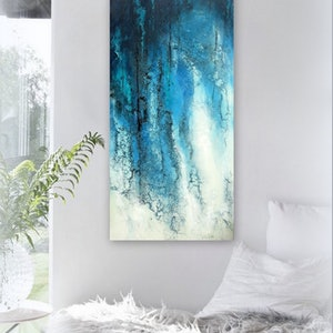 (CreativeWork) Blue Abstract Painting- Forest Breezes by Petra Meikle de Vlas. other-media. Shop online at Bluethumb.