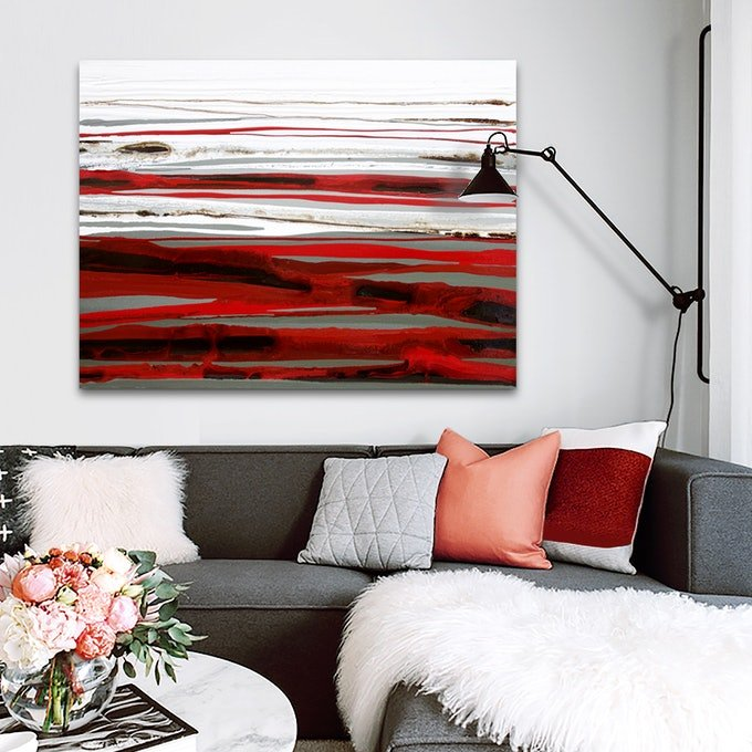 (CreativeWork) Chai Beraux - Large red, grey brown, abstract landscape painting by Stephanie Laine Pickering. mixed-media. Shop online at Bluethumb.