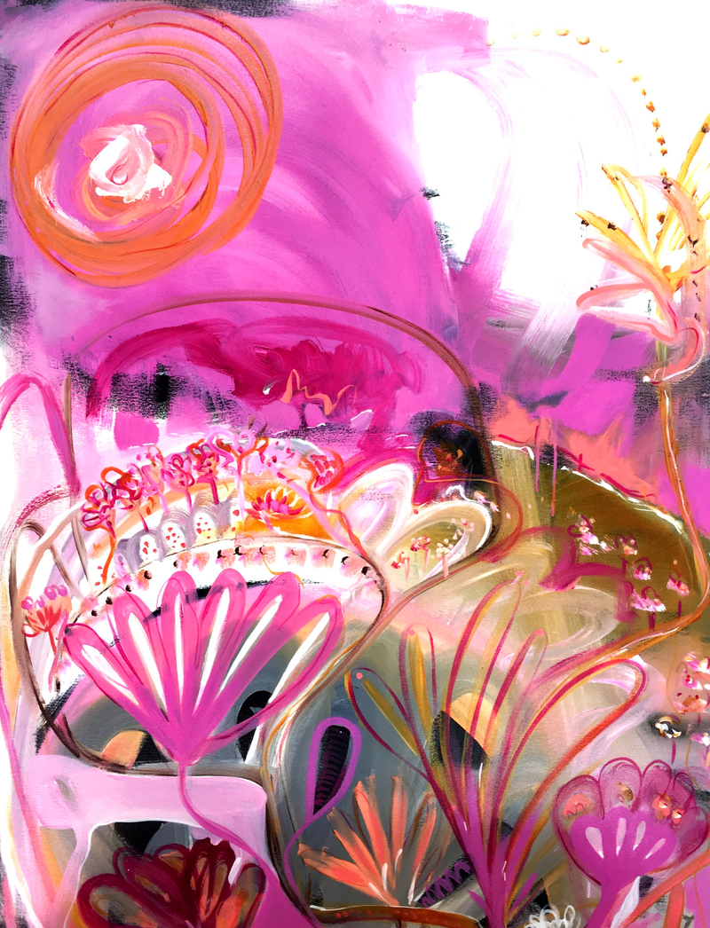 (CreativeWork) Pink Sunset by Sarah Morrow. Acrylic Paint. Shop online at Bluethumb.