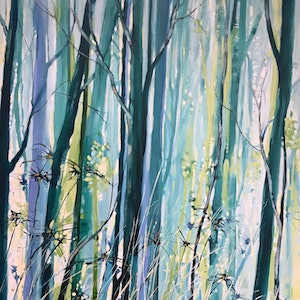 (CreativeWork) The  Blue Forrest by Leanne Manns. arcylic-painting. Shop online at Bluethumb.