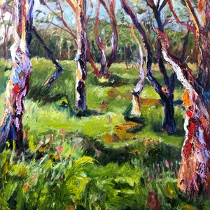 (CreativeWork) STRINGYBARK TREES by Maureen Finck. oil-painting. Shop online at Bluethumb.