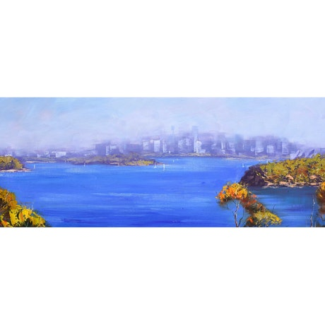 (CreativeWork) View Across Sydney Harbour by Graham Gercken. Oil Paint. Shop online at Bluethumb.