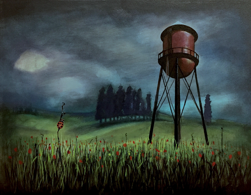 (CreativeWork) The Water Tower and The Ladybug by Ross Morgan. arcylic-painting. Shop online at Bluethumb.