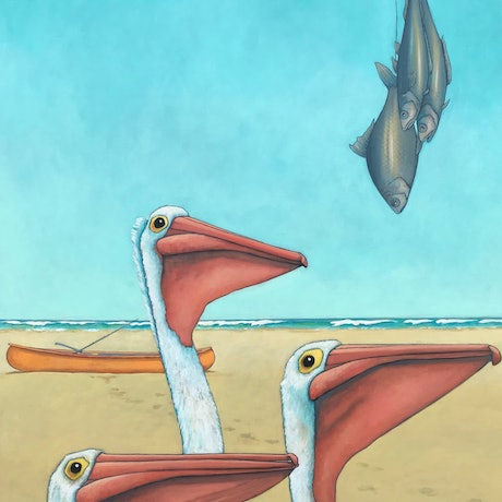 (CreativeWork) Sticky Beak Pelicans by Mary Conder. Acrylic Paint. Shop online at Bluethumb.