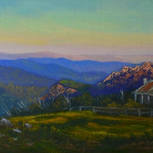 (CreativeWork) An evening near Craig's Hut, Mt Stirling, Victoria - Framed ready to hang by Christopher Vidal. oil-painting. Shop online at Bluethumb.
