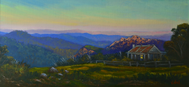 (CreativeWork) An evening near Craig's Hut, Mt Stirling, Victoria - Framed ready to hang by Christopher Vidal. Oil Paint. Shop online at Bluethumb.