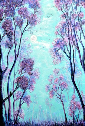 (CreativeWork) Mystical Trees by Linda Callaghan. Acrylic Paint. Shop online at Bluethumb.