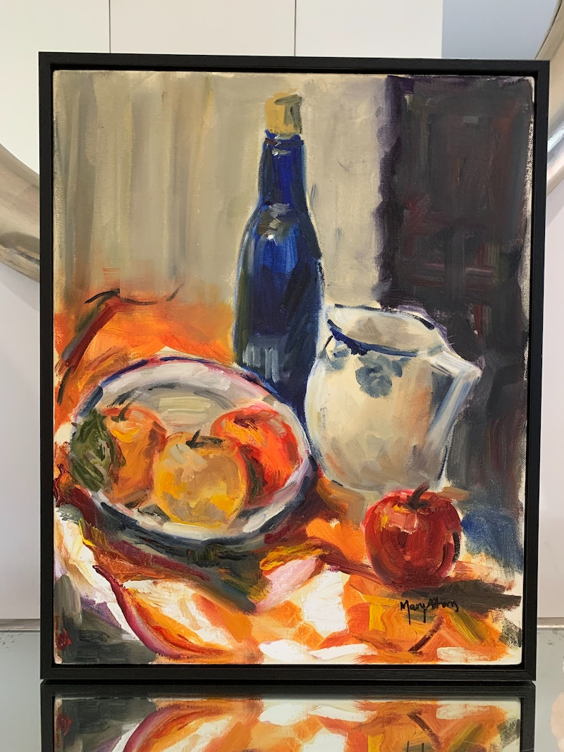 Framed Still Life Fruit Bowl By Mary Athans Paintings For Sale