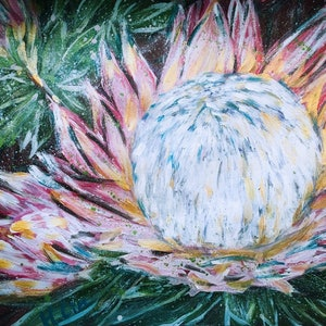 (CreativeWork) ONWARDS TO GLORY - SPRING PROTEA  by HSIN LIN. arcylic-painting. Shop online at Bluethumb.