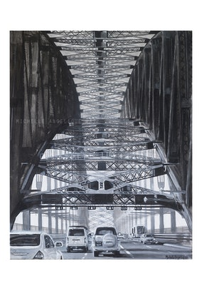 (CreativeWork) (PRINT) Through Sydney Harbour Bridge in Black and White Ed. 2 of 200 by Michelle Angelique. #<Filter:0x00007fb2105877e8>. Shop online at Bluethumb.