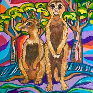 (CreativeWork) Meerkats by Genevieve Jackson. arcylic-painting. Shop online at Bluethumb.