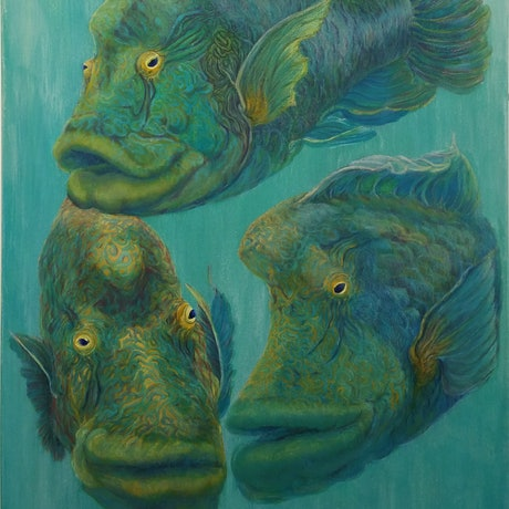(CreativeWork) The Three Maori's by Maureen Riggs. Oil Paint. Shop online at Bluethumb.