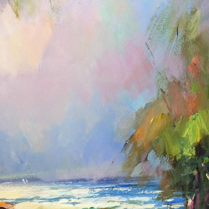 (CreativeWork) Low tide at Inverloch beach  2 by Liliana gigovic. Oil. Shop online at Bluethumb.