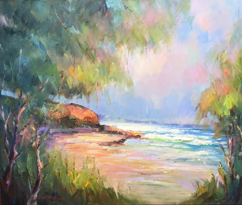 (CreativeWork) Low tide at Inverloch beach  2 by Liliana Gigovic. Oil Paint. Shop online at Bluethumb.