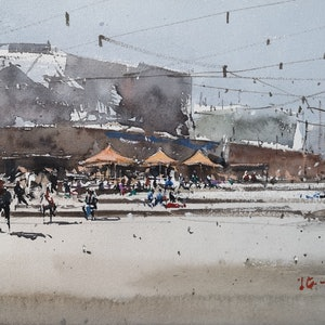 (CreativeWork) Federation Square,melbourne by jianqiang xu. watercolour. Shop online at Bluethumb.