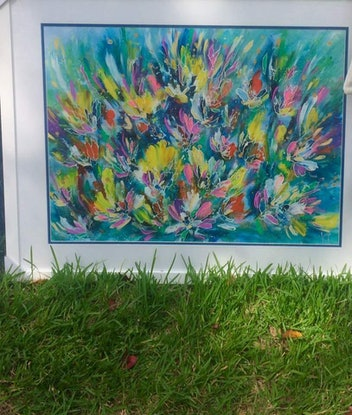 (CreativeWork) Poetic Blooms by Terina Jones. Acrylic Paint. Shop online at Bluethumb.