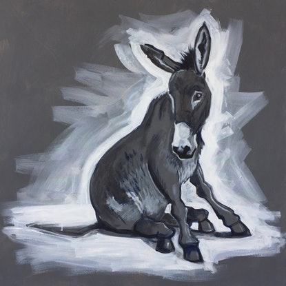 (CreativeWork) Grey Donkey (sketch) by Ross Morgan. Acrylic Paint. Shop online at Bluethumb.